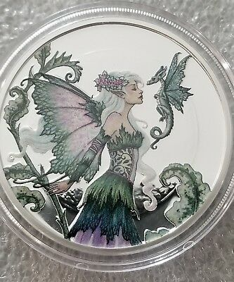 Amy Brown Collection Discovery Fairy 5 oz .999 Silver Colorized Proof US Round