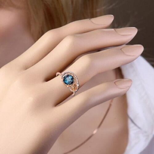 Rotgold anillo rusa Rose oro 585 doble goldring con CZ solitario y cinta