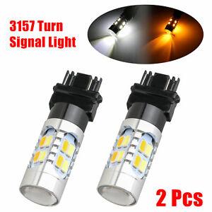 Error-Free-3157-LED-DRL-White-Amber-Switchback-Turn-Signal-Parking-Light-Bulbs