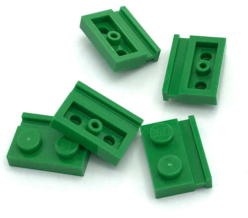 Lego 5 New Green Plates Modified 1 x 2 with Door Rail  Pieces