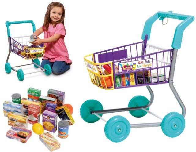 Kids Shopping Trolley Childrens Pretend Play Toy With Food Set Boxes Xmas Gift