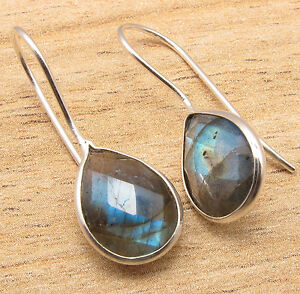 Natural-LABRADORITE-Pear-Gemstones-Earrings-925-Silver-Plated-Jewelry-GEMSET