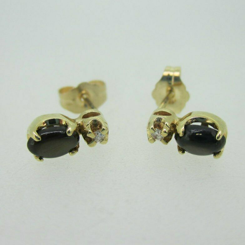 14K Yellow gold Brown Star Sapphire Earrings with Diamond Accents