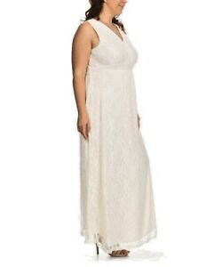 Details about New Women Plus Size Ivory Lace Tie-Back Surplice Maxi Dress  Sizes 1X 2X 4X 5X 6X