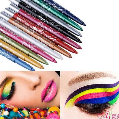 Professional Eye Shadow Lip Liner Eyeliner Pen Pencil Makeup Set 12 Color