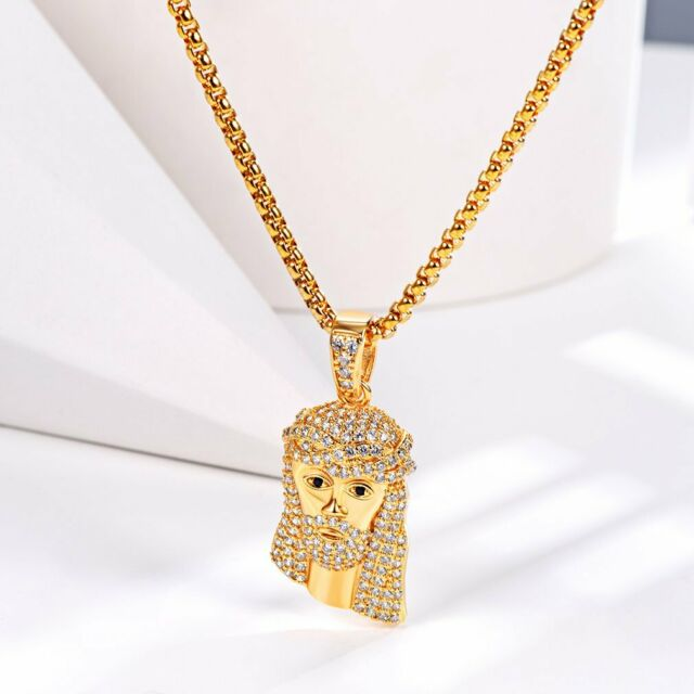 Mens Hip Hop 8mm BLACK Bead 14kt G.P Rosary Pray Hand & Jesus Cross Necklace GBK