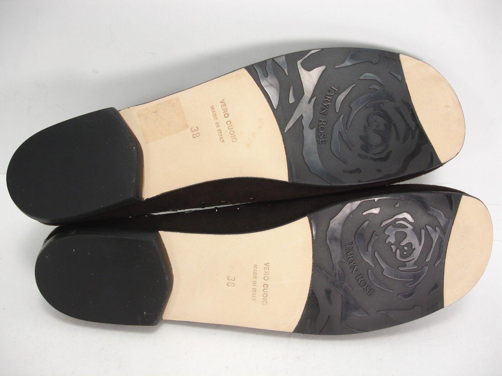 NEW TARYN SLIP ROSE BROWN SUEDE CRYSTALS SLIP TARYN ON BALLET FLATS Schuhe WOMEN'S 38 M 9d1489