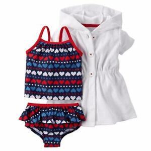 b85058d5b4 CARTER'S Baby Girl 6M, 9M Heart Print 3-Piece Swim Set NWT | eBay