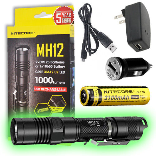 Nitecore MH12 Rechargeable Flashlight - With FREE Battery, Car, & Wall Adaptor