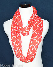 Womens Girls Geometric Infinity Scarf Soft Jersey Knit Red and White Brand New
