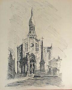 Eglise D Auteuil Dessin D Encre Sur Papier Signe A Guerin Vers 1940 Ebay