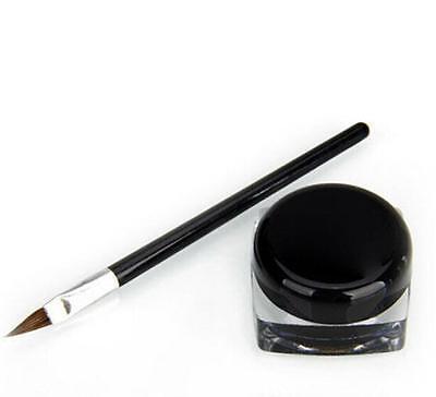 Pro Waterproof Eye Liner Eyeliner Shadow Gel Makeup Cosmetic + Brush Black BUAU