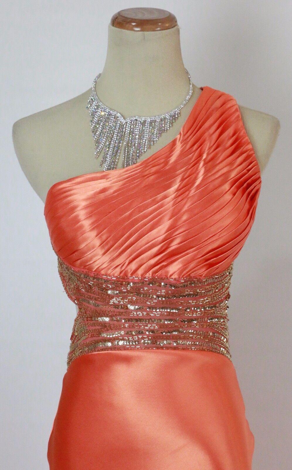 Betsy & Adam  Coral 1 Shoulder Größe 2 Formal Cruise Long Dress Prom Evening