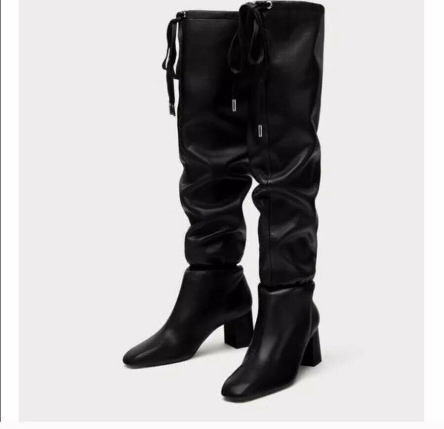 ZARA 100% Leather High Heel Boots with Gathered Detail sz 35 (US 5) 5008 201