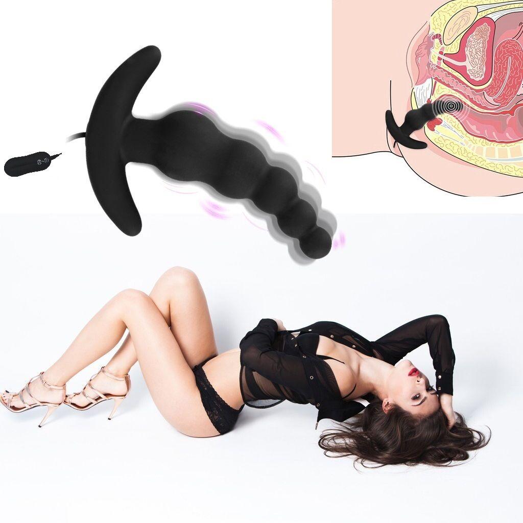Adult Female Waterproof Massager Vibrator G Spot Anal Beads Butt Plug Sex Toy