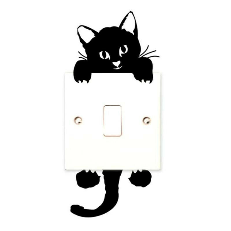 Walplus Light Switch Pet Sticker with Dog and Cat Wall Stickers Decals DIY Art