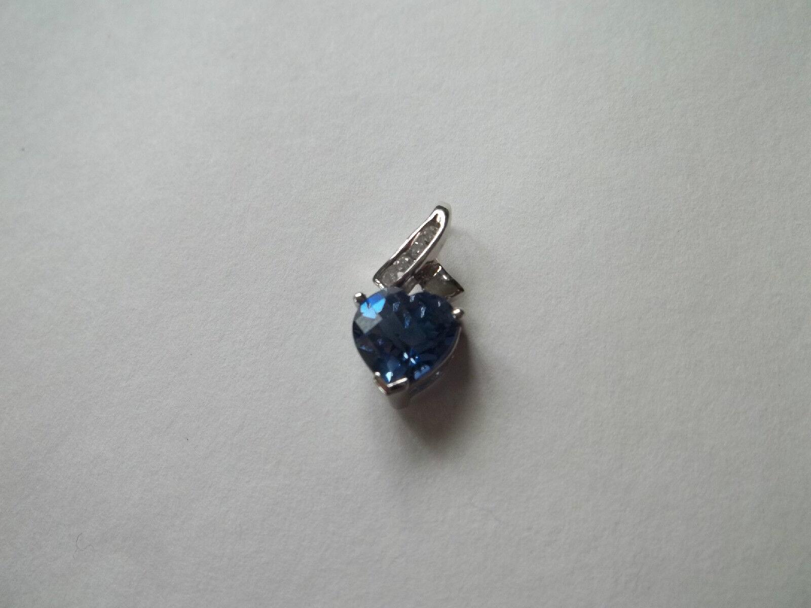 ALWAND VAHAN 10K white gold pendant,diamonds,purple bluee heart stone,great cnd,