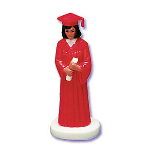 New Girl Graduate Cake Topper Red Robe Accents Brown Hair Caucasian