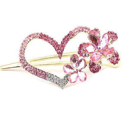 Fashion Girls Retro Crystal New Butterfly Flower Hairpins Hair Stick Hair Clip