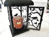 Yankee Candle Candle Lantern 8 Birds Vines Black Iron Glass Heavy Nice
