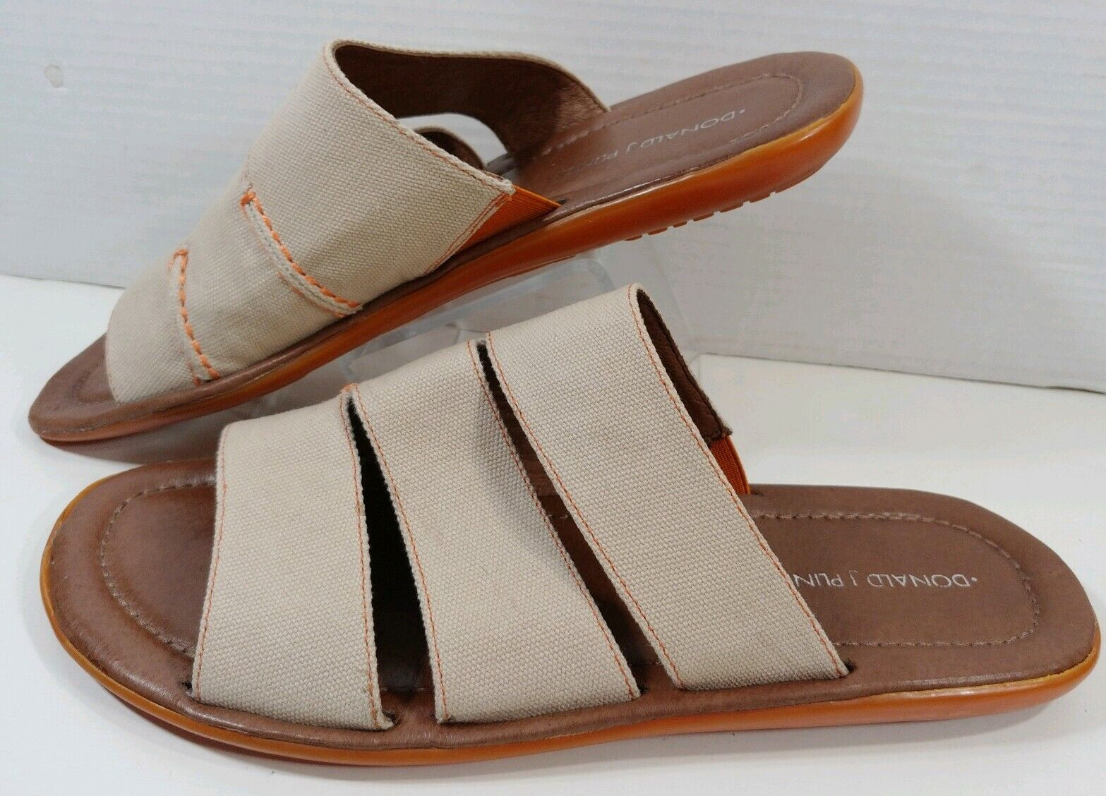 DONALD J PLINER Khaki TAN Canvas Cool Comfy Fabric SeALS Slides sautope Mens 13D
