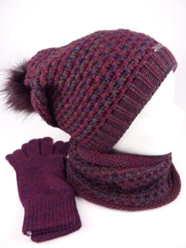 TEA 3 teiliges Damen Winterset Schal Mütze Handschuhe Geschenkidee Mützenset