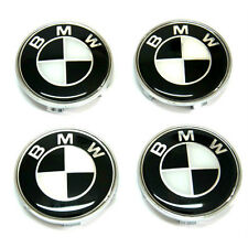 NEW 2017 Black & white BMW 68mm Alloy Wheel Centre Caps x4
