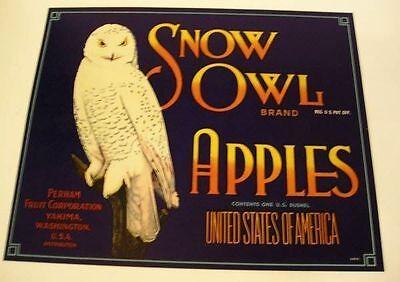 1950s Snow Owl Crate Label Yakima Washington Blue