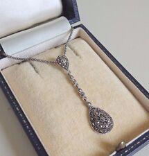 Sterling Silver Art Deco Marcasite Pendant Necklace