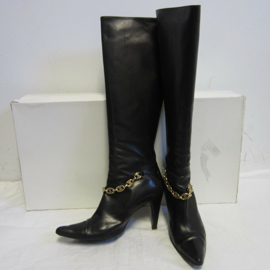 675 CELINE black tall leather boots w  gold chain detail at ankle sz 7.5 B