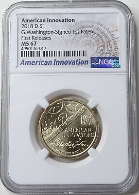 Washington Signed Dollar NGC MS-67 2018 D American Innovation