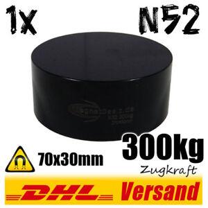 Neodym-starker-power-Magnet-70x30mm-D70x30-300kg-Zugkraft-N52-schwarz-Scheibe