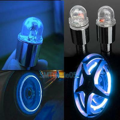 2pcs Blue LED Wheel Tyre Tire Valve Cap Flash Light Lamp for Bike Car Motorcycle