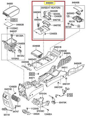Genuine Hyundai 84650-3L035-3G Upper Floor Console Cover Assembly