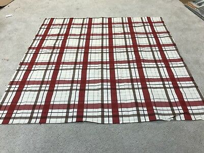 Cream red beige tartan check crafts sewing remnant fabric piece 95x95cm