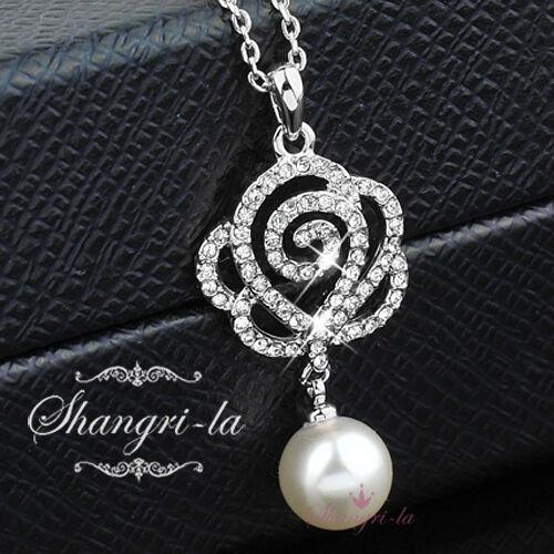 18K 18CT White GOLD GP ROSE Flower Pearl Womens NECKLACE SWAROVSKI CRYSTAL L278