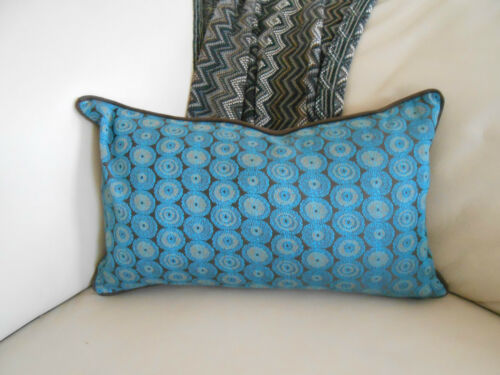 NEW Circles SILK backed OBLONG or LARGE SQ Cushion Covers Turquoise Blue /& Brown