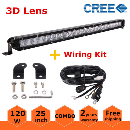 """Slim 25/"""" 120W Single Row Cree LED Light Bar Combo Off road Truck Ford /& Wiring"""