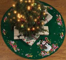"""Candy Snowman Tree Skirt Felt Applique Kit-43"""" Round"""