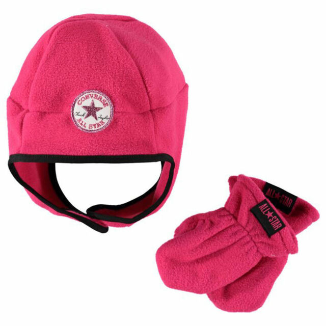 374b92952e6 Converse Beanie Hat   Gloves Set Fleece Toddlers Girls Age 1 to 3 Years Pink  NEW