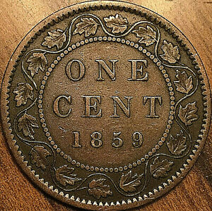 1859-CANADA-LARGE-CENT-COIN-LARGE-1-CENT-PENNY-Dp-9-variation