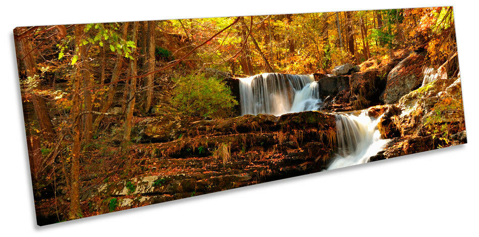 Forest Woodland Waterfall River CANVAS WALL ART Panoramic Framed Print