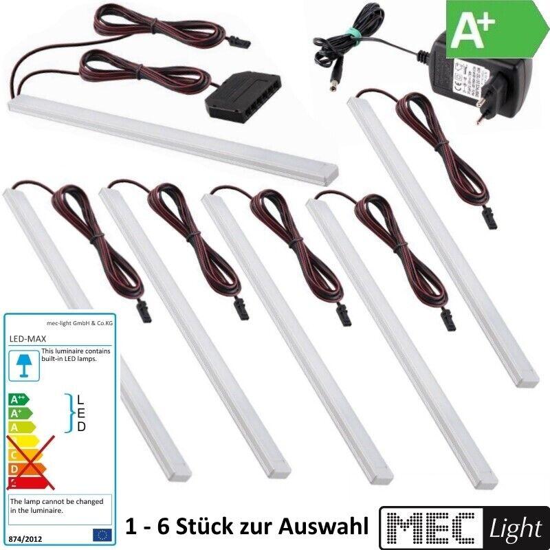 1-6x Led Beleuchtung Aufbau-Leuchte Unterschrank Küche Schrank + Trafo kalt-weiß
