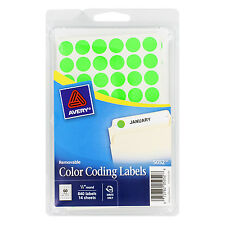 """""""Avery Handwrite Only Removable Round Color-Coding Labels 1/2"""""""" Dia Neon Green 8"""