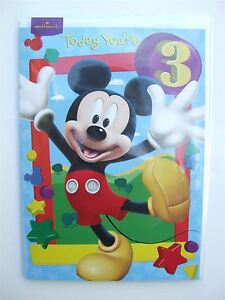 Image Is Loading Disney Mickey Mouse Birthday Card For Age 3