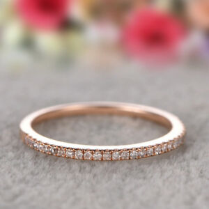 925-Silver-Stackable-Eternity-Rose-Gold-Plated-Wedding-Promise-Rings-Size-5-10