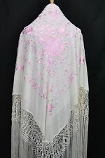 Spanish Stunning Flamenco silk Piano rose floral  Shawl Hand Embroidery G1041