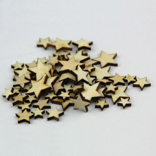 50 Pcs Mixed Wooden Stars ScrapBooking Embellishments Card Party Craft H7Y6