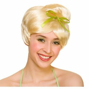 Ladies-NEVERLAND-FAIRY-Tinkerbell-WIG-with-Ribbon-Fancy-Dress-Accessory-Princess
