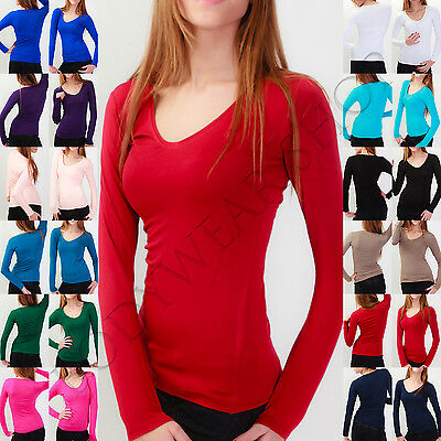 Bodywear Shop Damen V Neck T-Shirt Tiefer V Ausschnitt Shirt Langarm XS S M L XL